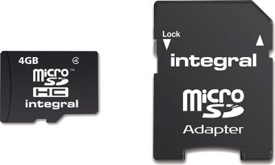 Integral Micro SDHC (Mit Adapter) (Class 4) 4GB Karte (Class 4)